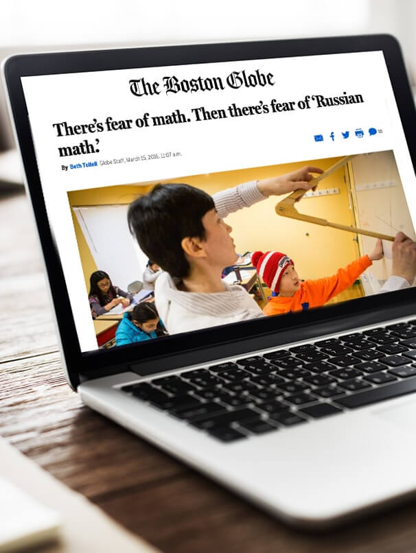 Computer screen showing Boston Globe web article featuring Russian School of Math
